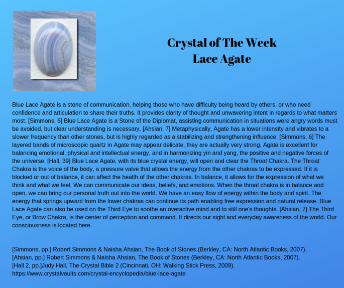 Crystal of The Week Lace Agate