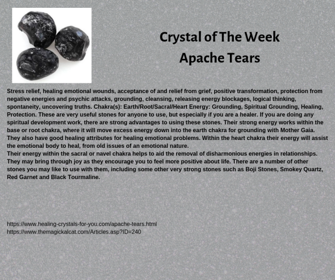 Crystal of The Week Apache Tears